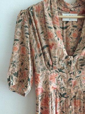 Midikleid, Kleid, Sommerkleid von Ba&sh, Blumenmuster, Silberfäden, einmal getragen