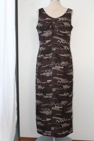 Midikleid Kofferkleid Sommerkleid schwarz braun Seide Minuet Gr. S 36