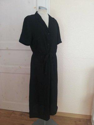 Midikleid Kurzarmkleid Kurzarm Kleid Hemdkleid Hemdblusenkleid schwarz Gr. 42  L XL neu