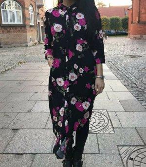Midikleid Maxikleid Blusenkleid Gr. S (36) Kleid Jacqueline de Yong Blumen schwarz bunt