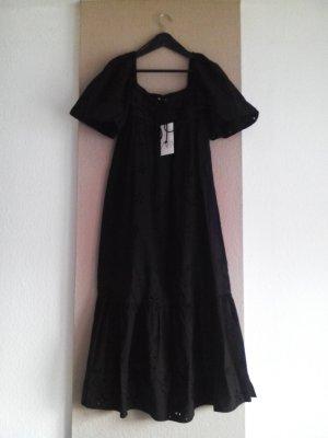 Midikleid mit Lochstickerei in schwarz aus 100% Baumwolle, Grösse M, neu