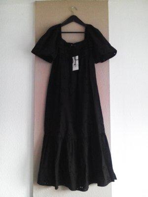 Midikleid mit Lochstickerei in schwarz aus 100% Baumwolle, Grösse S, neu