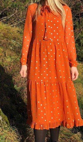 Midikleid Orange gold Gr. S Pieces Dress Kleid Langarm