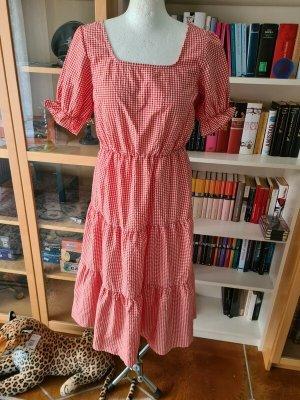 YAS Shortsleeve Dress white-red cotton