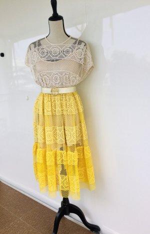 Midikleid Strandkleid Sommer Blogger lochmuster häkelkleid beige gelb s
