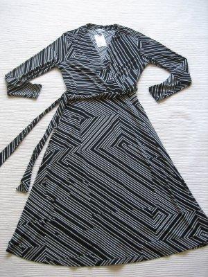 H&M Robe mi-longue noir-blanc