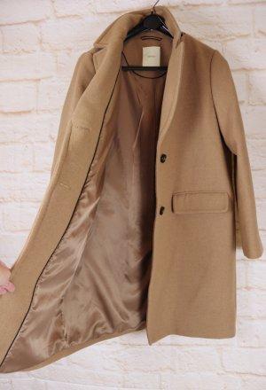 Esprit Manteau en laine brun sable-chameau tissu mixte