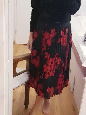 Mango Spódnica midi czarny-ciemnoczerwony