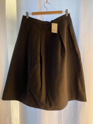 H&M Rozkloszowana spódnica czarny Tkanina z mieszanych włókien