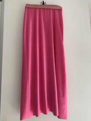 Bershka Spódnica midi różowy-różowy neonowy