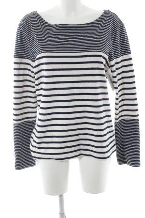 Mih jeans Rundhalspullover weiß-dunkelblau Streifenmuster Casual-Look