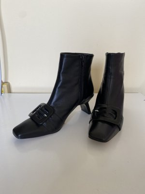 Miista Black Leather Boots with peculiar heels