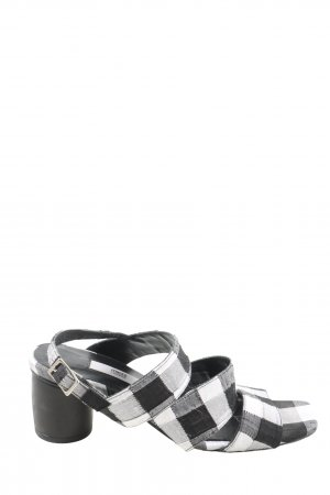 Miista Riemchen-Sandaletten schwarz-weiß Karomuster Casual-Look