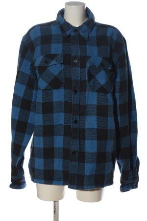 mil - tec Camisa de franela azul-negro estampado a cuadros look casual