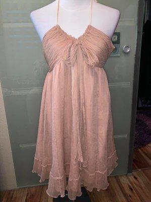 Vestido de chifón color rosa dorado tejido mezclado