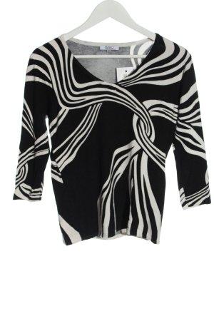 Milano Fine Knit Jumper black-white striped pattern casual look