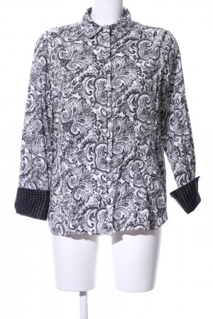 Milano Italy Hemd-Bluse weiß-schwarz Allover-Druck Casual-Look
