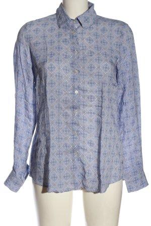 Milano Italy Hemd-Bluse blau-weiß Allover-Druck Business-Look