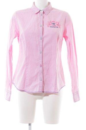 Milano Italy Hemd-Bluse pink-blau Schriftzug gestickt Business-Look