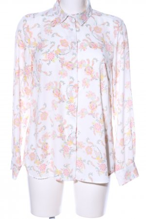 Milano Italy Langarm-Bluse wollweiß-pink Allover-Druck Casual-Look