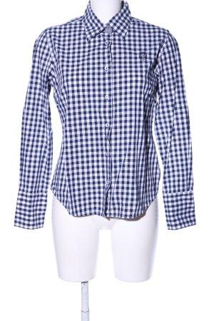 Milano Italy Langarmhemd blau-weiß Karomuster Business-Look