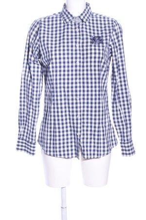 Milano Italy Langarmhemd weiß-blau Karomuster Casual-Look