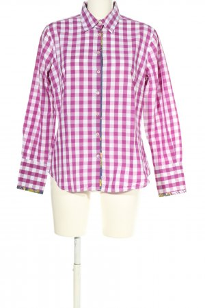 Milano Italy Langarmhemd lila-weiß Karomuster Business-Look