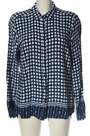 Milano Italy Langarmhemd blau-weiß Punktemuster Casual-Look