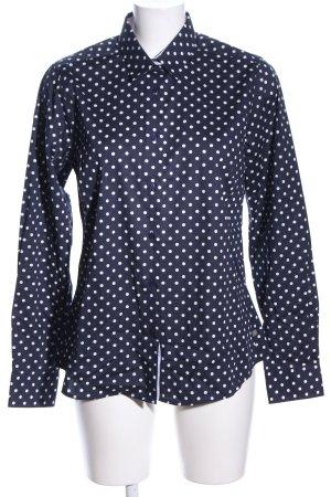 Milano Italy Langarmhemd blau-weiß Punktemuster Business-Look