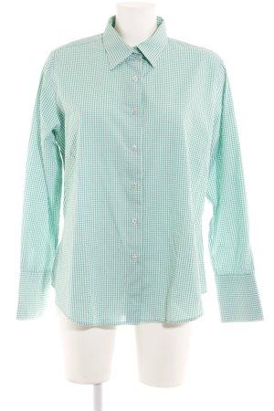 Milano Italy Langarmhemd grün-weiß Karomuster Casual-Look