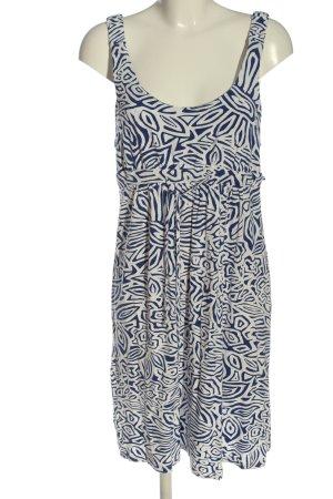 Milano Italy Stretchkleid weiß-blau Allover-Druck Casual-Look
