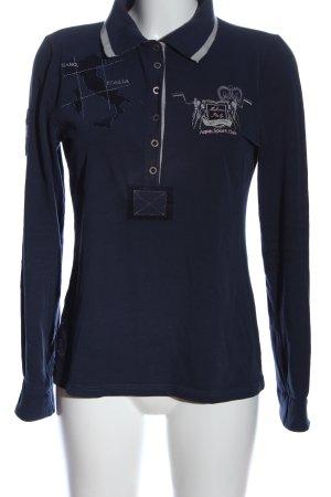 Milano Italy Schlupf-Bluse blau-hellgrau Motivdruck Casual-Look