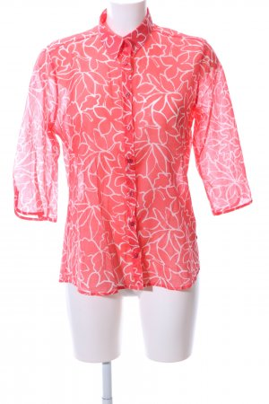 Milano Italy Transparenz-Bluse rot-weiß Blumenmuster Casual-Look