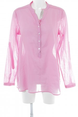 Milano Italy Transparenz-Bluse pink florales Muster Elegant