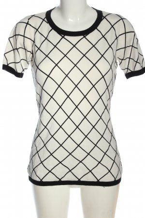 Milano Short Sleeve Sweater white-black check pattern casual look