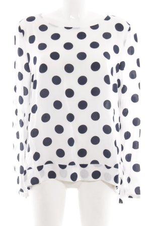 Milano Langarm-Bluse weiß-schwarz Punktemuster Casual-Look