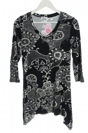 Milano Long Sleeve Blouse black-white abstract pattern casual look