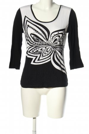 Milano Longsleeve black-white flower pattern casual look