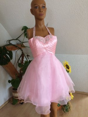 Milano- Luxus Tanzstundenkleid in zartem rosa mit Tüll und Strass Gr.32