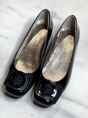 Milano Italy Patent Leather Ballerinas black-silver-colored leather
