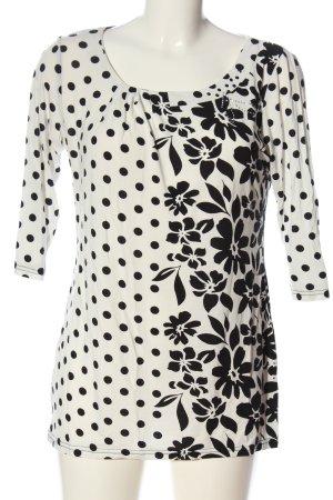 Milano Slip-over Blouse white-black flower pattern casual look