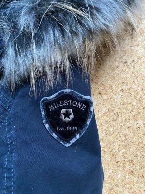 Milestone Parka bleu foncé-gris coton
