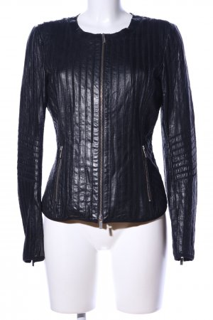 Milestone Lederjacke schwarz Streifenmuster Casual-Look