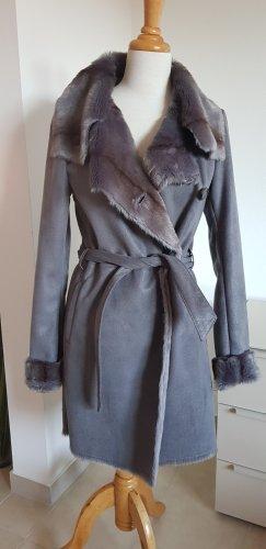 Milestone Mantel Fake Fur Handcrafted Design Gr.36 grau NEU