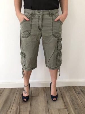 H&M L.O.G.G. Pantalon «Baggy» gris vert-kaki coton
