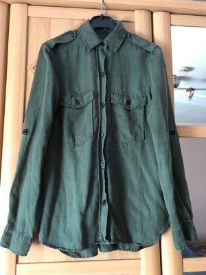Zara Camicia a maniche lunghe verde bosco-verde oliva Tessuto misto