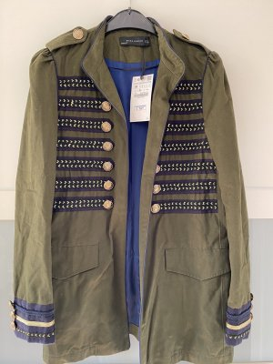 Zara Military Jacket olive green-blue mixture fibre