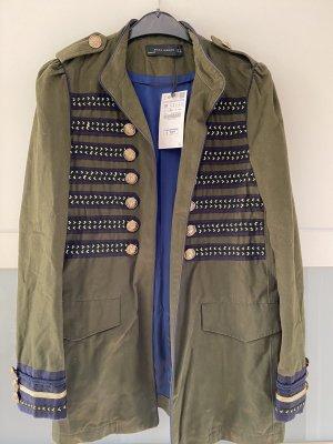 Zara Chaqueta militar verde oliva-azul