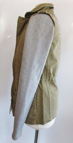 Military Strass Jacke Only Größe XS 34 Khaki Grau Grün Glitzer Parker Sweat Tarn