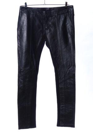 MILLA Pantalón de cuero negro look casual